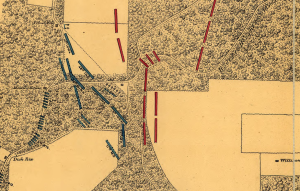 Detail of the battlefield of Iuka, showing the position of the Eleventh Independent Battery.